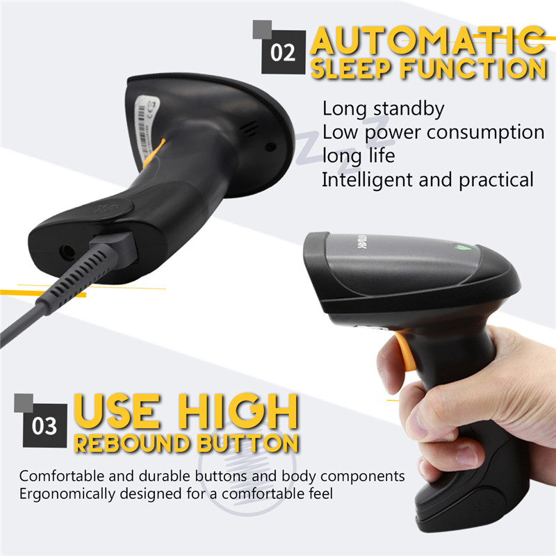 Barcode Scanner Laser 880G 2.4g Wireless and Wired Portable Bar Code Scanner USB Barcode Reader