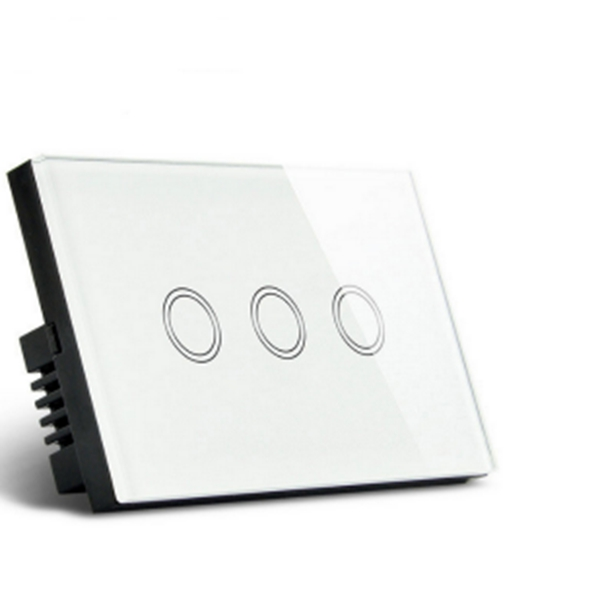 ABS 1 Way 3 Gang Crystal Glass Remote Panel Touch LED Switches Controller