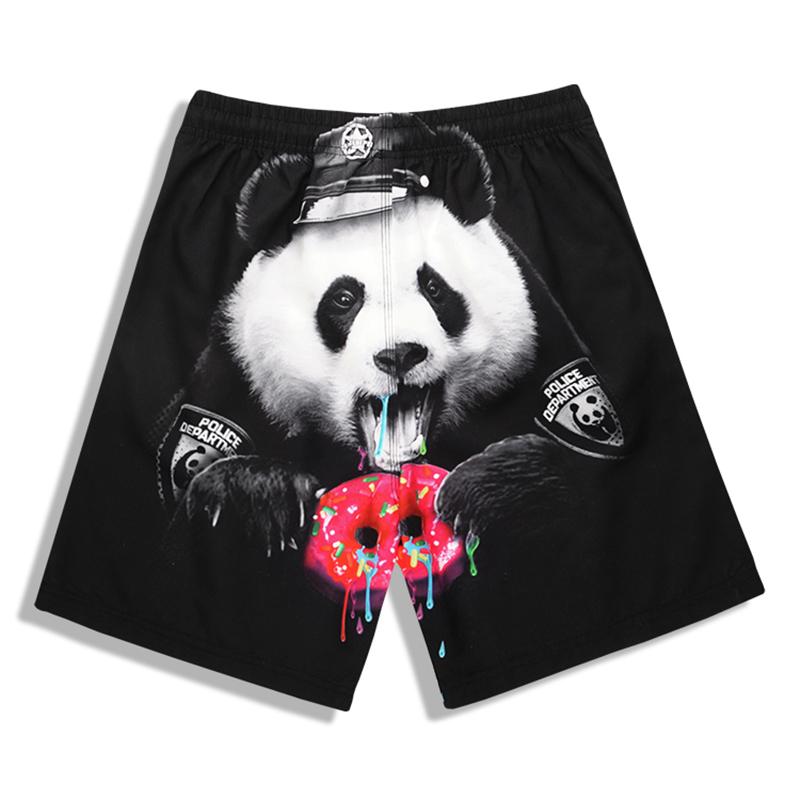 S5236 Men Pants Shorts Hip-hop Panda Printing Waterproof Fast-dry Beach Board Shorts Comfortable