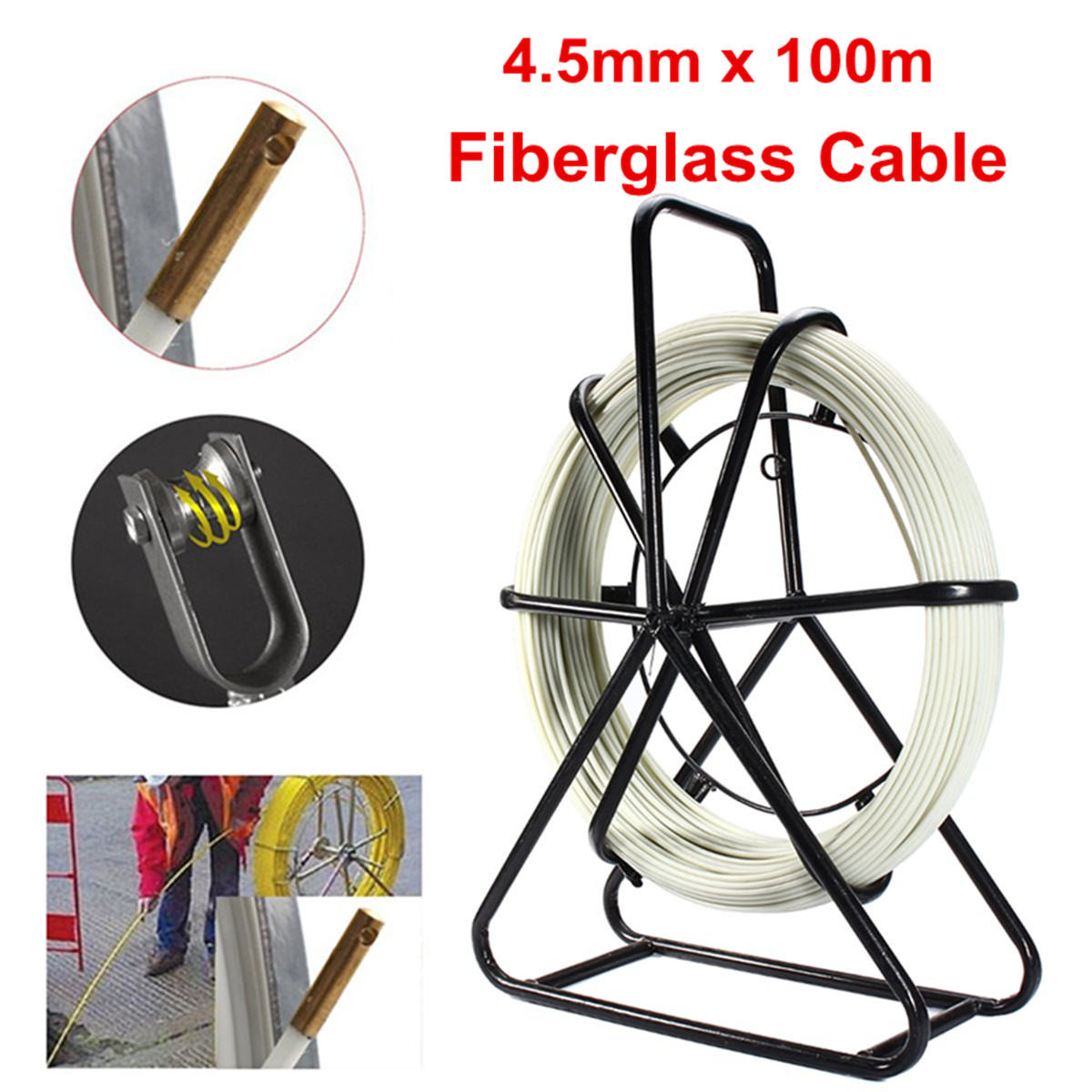 4.5mm 100M Fish Tape Fiberglass Wire Cable Running Rod Duct Rodder Fishtape Fiberglass Cable Puller