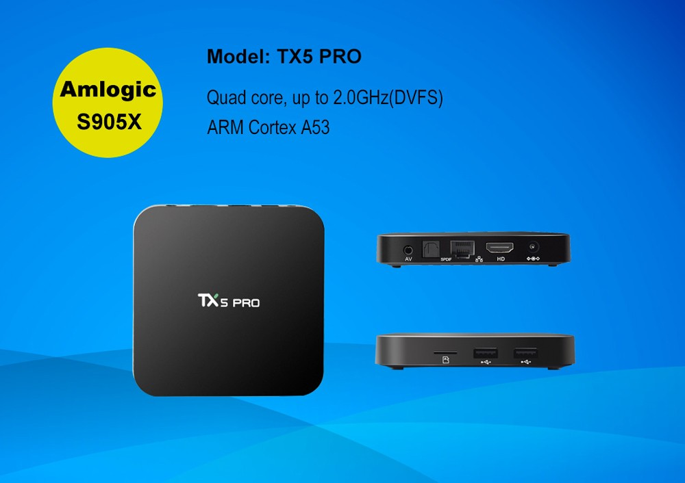 Tanix TX5 Pro Amlogic S905X 2GB DDR3 RAM 16GB EMMC Flash ROM 4Kx2K Kodi 16.1 Android 6.0 Marshmallow Bluetooth 4.0 802.11 b/g/n ac 2.4G + 5.8G WiFi VP9 HDR10 H.265 HEVC TV Box Android Mini PC