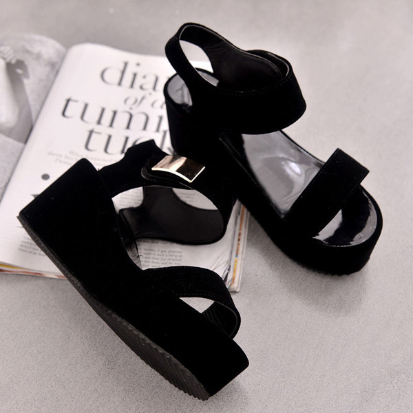 Women Flat High Wedge Ankle Strap Slingback Strappy Peep Toe Platform Shoes