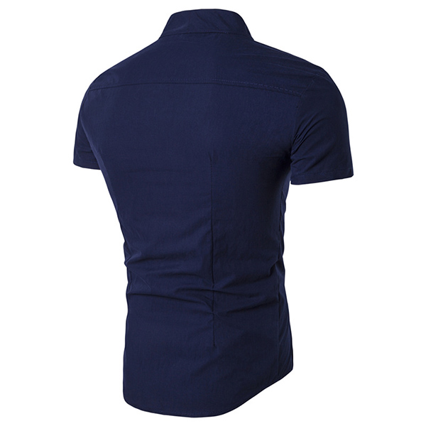 Oblique Placket Asymmetric Single-breasted Short Sleeve Stand Band Collar Men Shirt