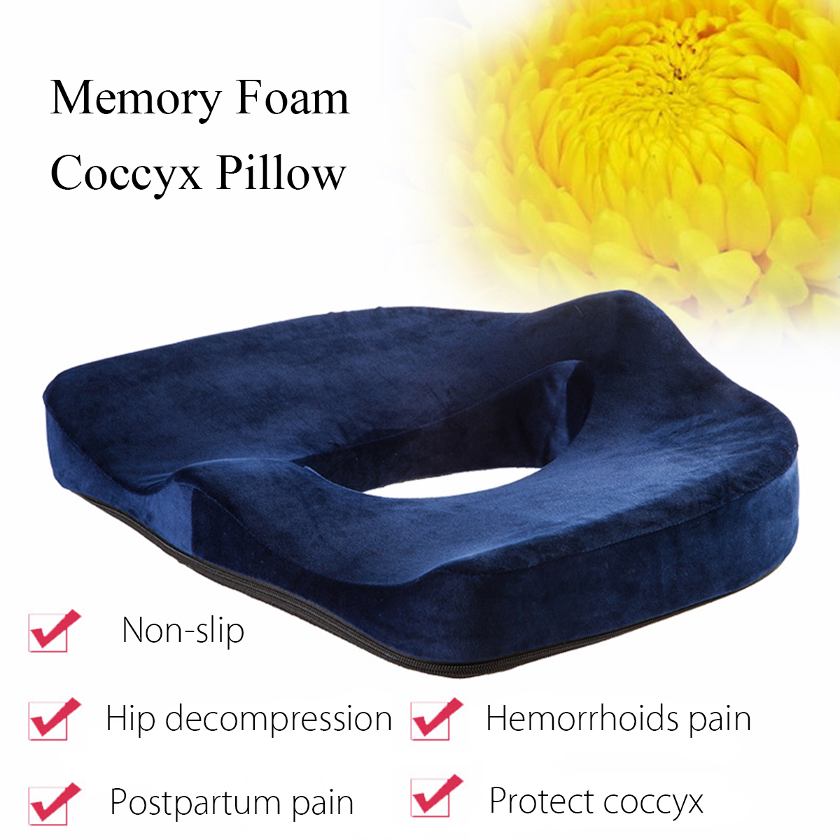 Memory Foam Seat Chair Cushion Orthopedic Coccyx Support Pillow Relieve Postpartum Pain