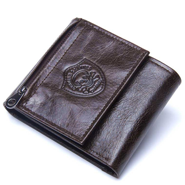 Genuine Leather Coffee Vintage Slim Trifold Wallet for Men