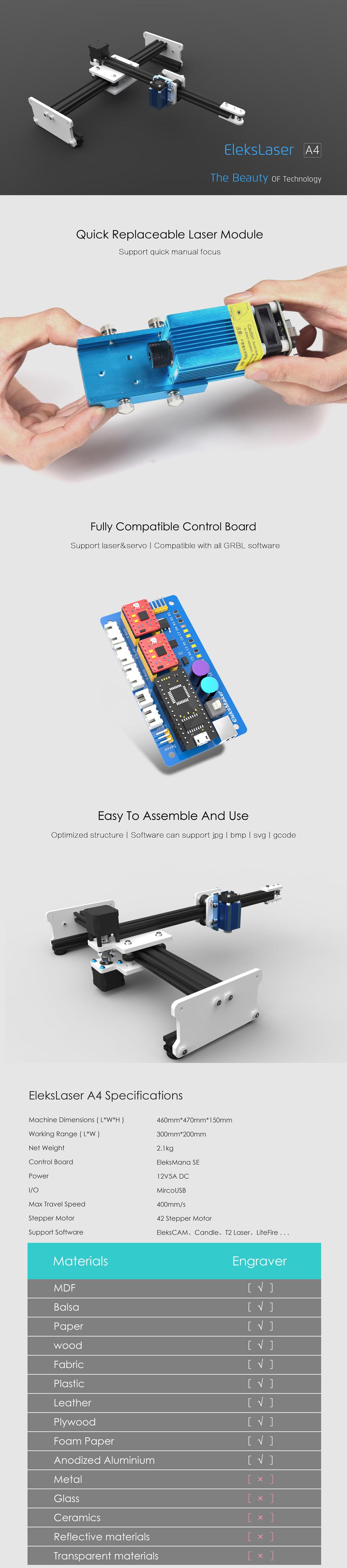 EleksMaker® EleksLaser A4 Laser Engraving Machine CNC Laser Printer Standard without Laser Moudule