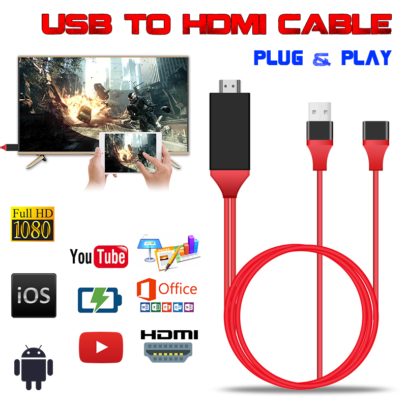 1M/3.3Ft Type-C 1080P HDTV Adapter HD Cable For Smartphone Tablet