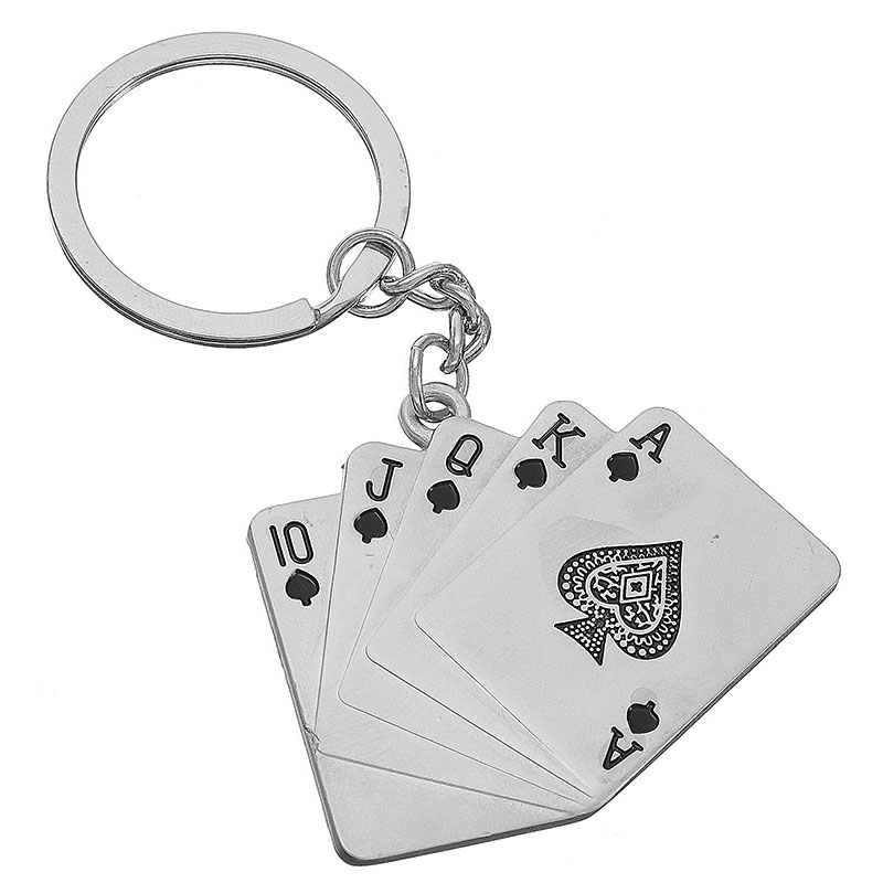 Man's Christmas Car Gift Creative Poker Metal Key Chain Ring