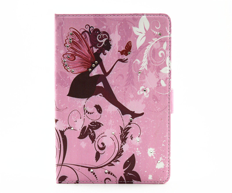 Fairy Luxury Bling Diamond Printed Leather Case Folio Stand For iPad Mini 4