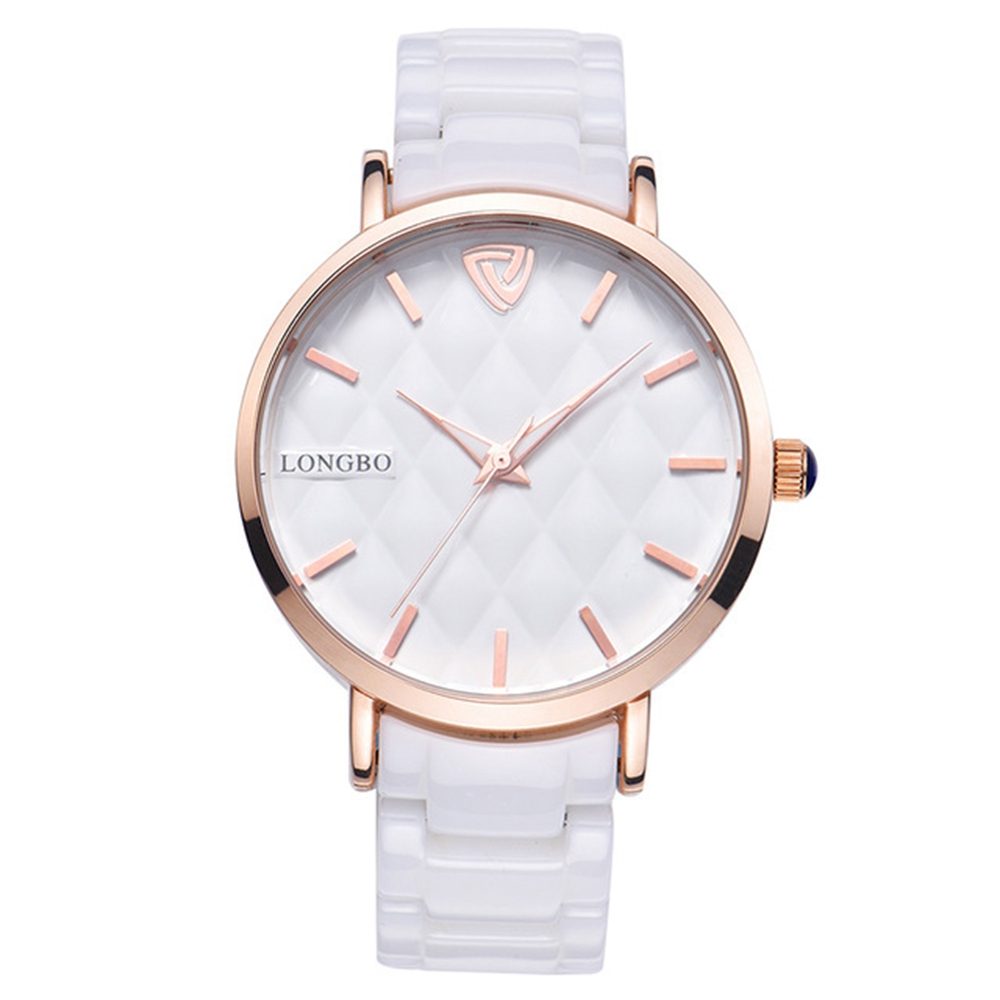 LONGBO 80050 Rose Gold Case Quartz Watch Ceramic Strap