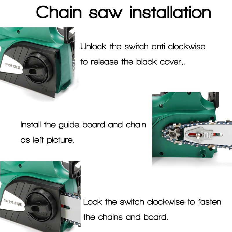 18V Lithium Rechargable Chain Saw Cordless Eletric Power Chain Saw Kit 1 Battery 1 Charger