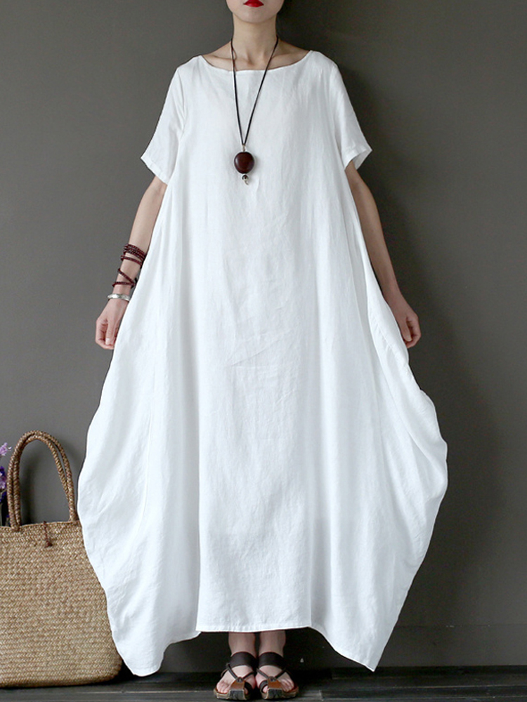 Women Casual Short Sleeve Cotton Loose Baggy Maxi Dress