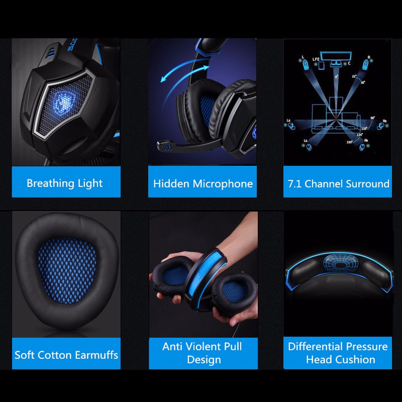 SADES 7.1 Channel Surround USB Wired LED Gaming Headphone Headset with Mic for PC Gamers