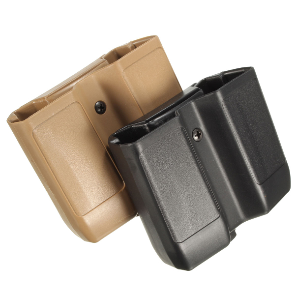 Plastic Belt Double Pistol Magazine Pouch Mag Case Cartridge Clip Holder
