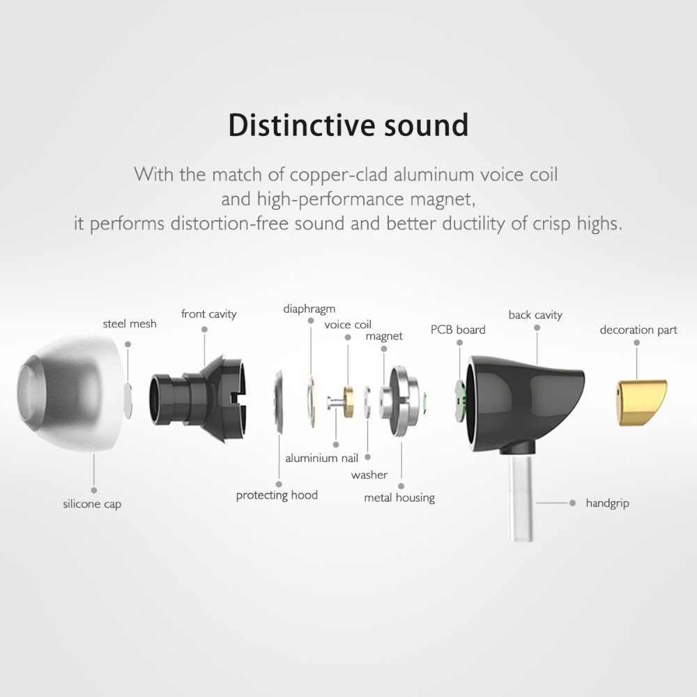 Rock Space Zircon Stereo Heavy Bass Earphone Headphone With Mic Wired Control for iPhone Xiaomi
