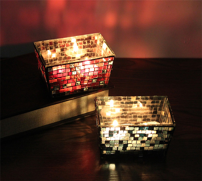Handicraft Square Mosaic Glass Candle Stick Candle Holder Candelabra Flower Pot Home Wedding Decor