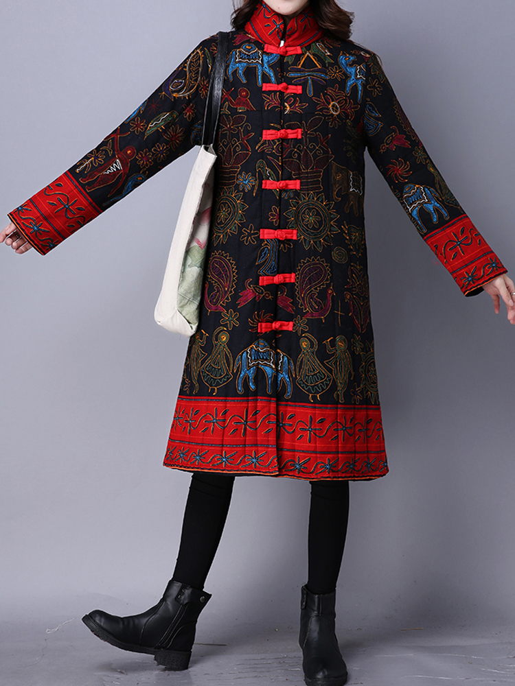 Women Chinese Frog Stand Collar Printed Long Sleeve Coats