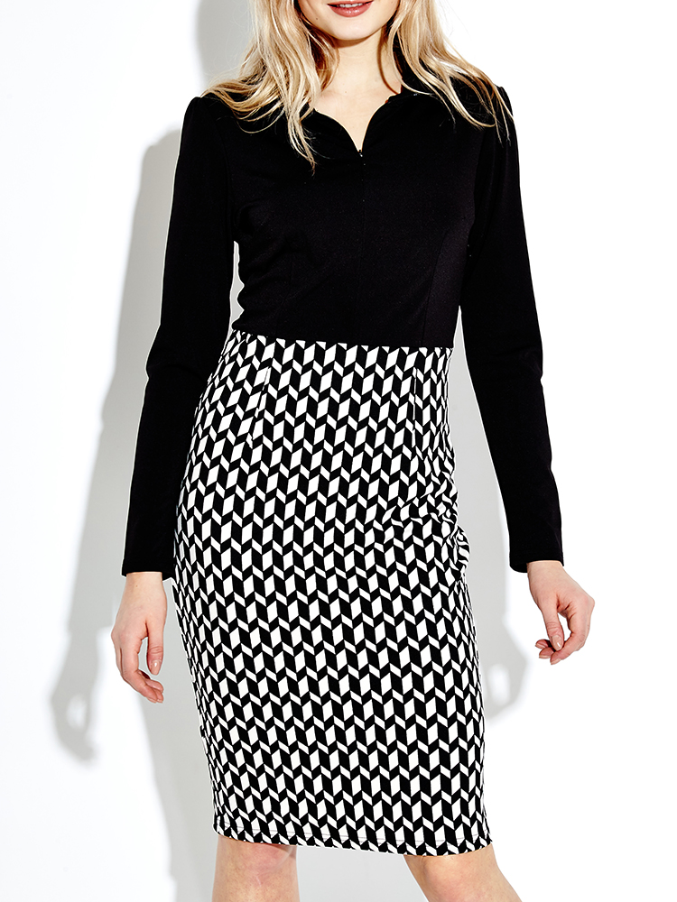 Elegant Women Lapel Front Zipper Checked Patchwork Pencil Dress