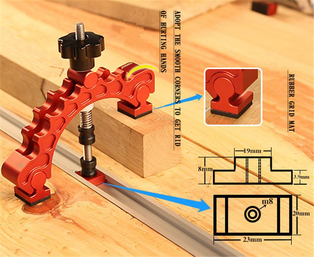 Aluminum Alloy Knuckle Clamp Adjustable Press Plate T-Track Clamp Quick Acting Hold Down Clamp Precision Woodworking Tool