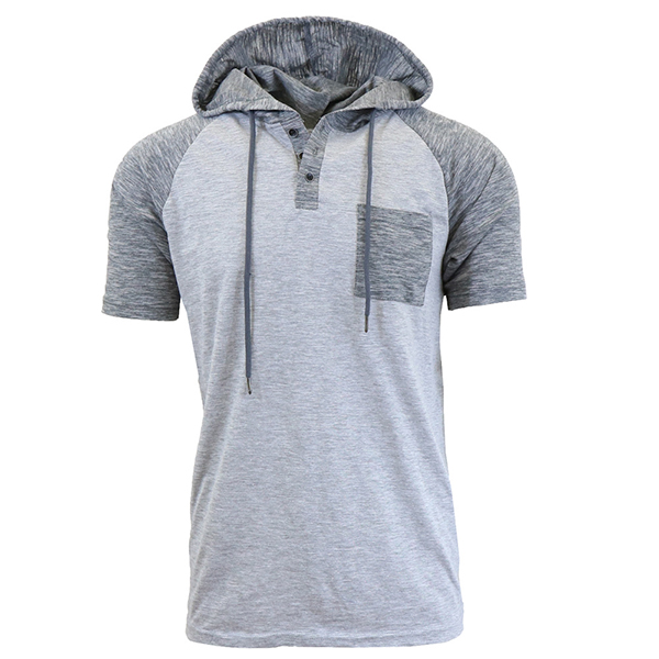 Summer Men's Hit Color Hooded T Shirt Casual Short Sleeved Tops Tees