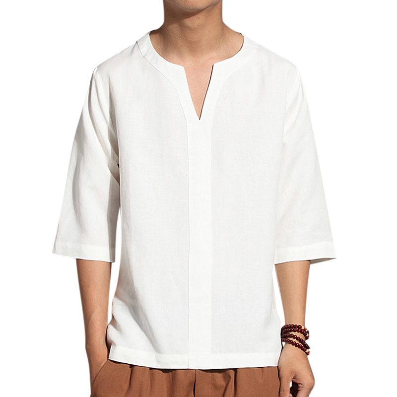 Men's Ethnic Style Cropped Sleeve T-Shirts
