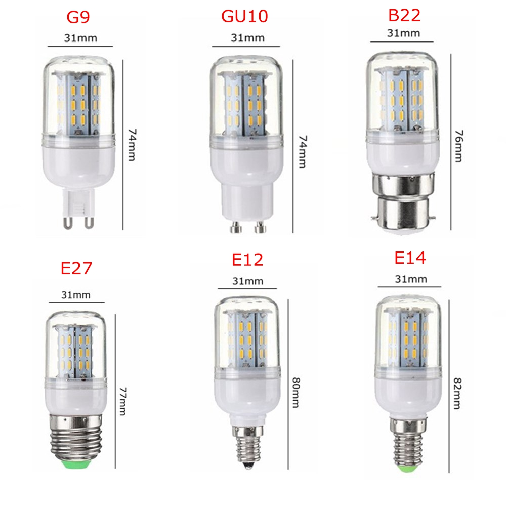 E27 E14 E12 G9 GU10 B22 4014 SMD 4W LED Corn Light Bulb Lamp for Home