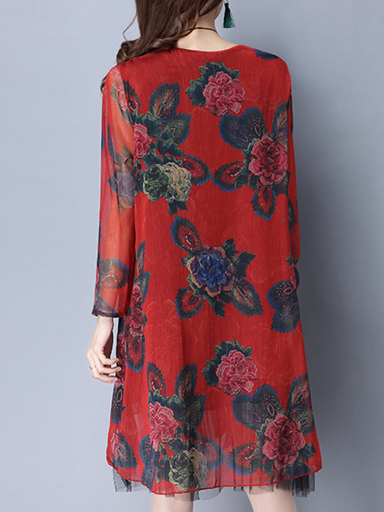 Floral Print Fake Two Pieces Silk Dress