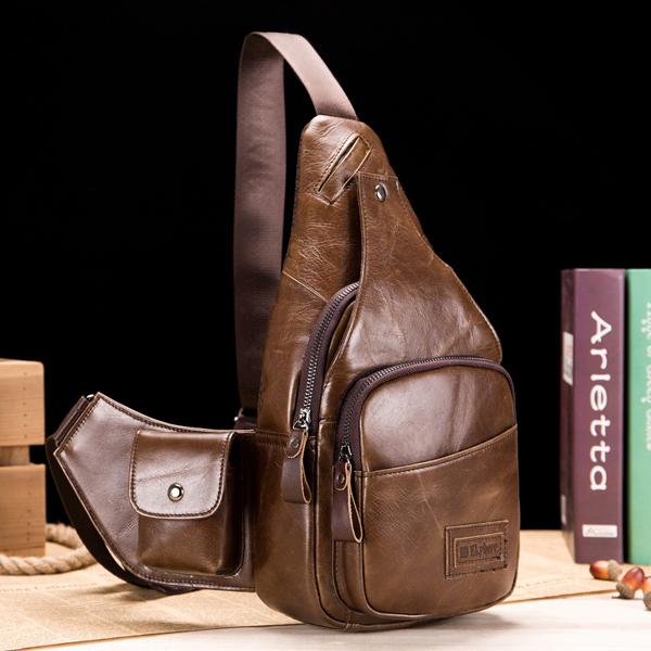 Ekphero Leather Sling Bag in Brown