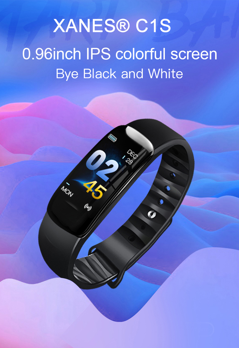 XANES® C1S 0.96inch IPS Color Screen IP68 Waterproof Smart Watch Heart Rate Blood Oxygen Monitor Fitness Exercise Sports Bracelet