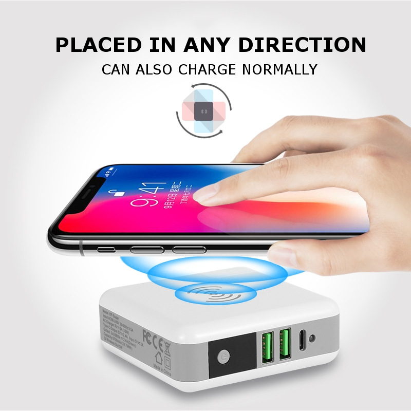 Bakeey 3 in 1 6700mAh Power Bank 2.4A Type C USB Charger Qi Wireless Charger With UK US EU AU Plug