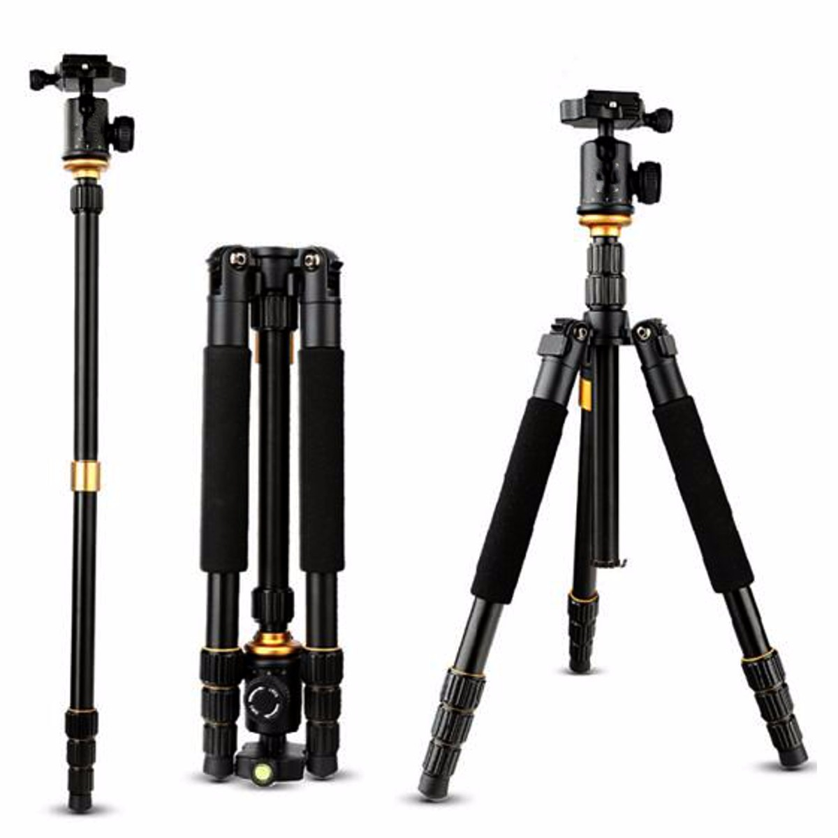 QZSD Q999S Portable Aluminum Tripod Monopod with QZSD-06 Ball Head for DSLR Camera
