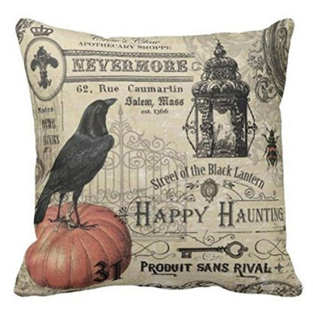 Halloween Soft Black Bird Pattern Pillowcase Cotton Linen Throw Pillow Cushion Cover Seat Home Decoration Sofa Decor