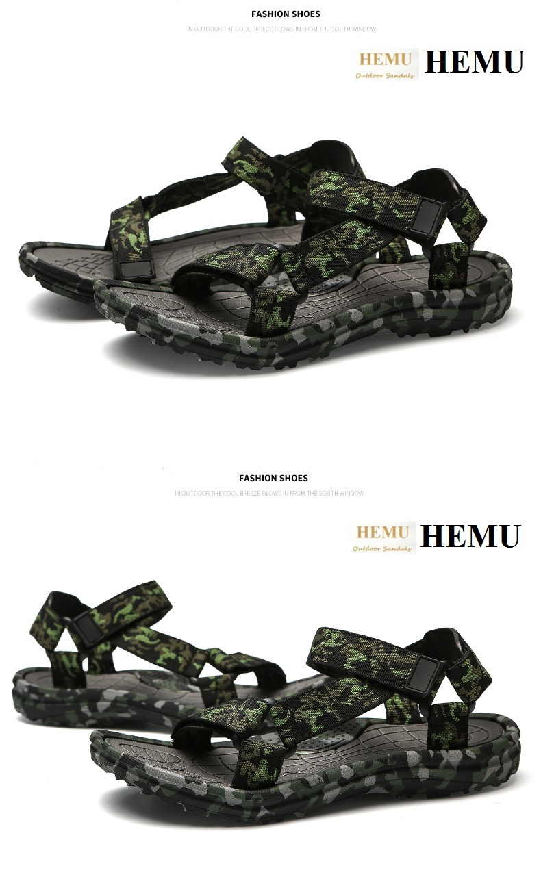 HEMU Men Sandals Breathable Shock Absorption Non-slip Massage Outdoor Leisure Beach Sandals Slipper