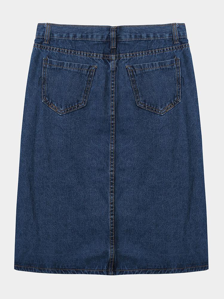 Pocket Women Single Breasted High Waist Slit Denim Midi Skirt