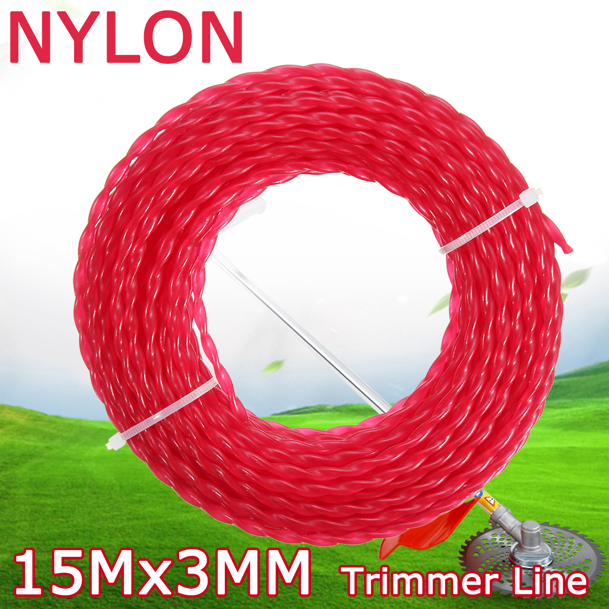 5m x 3mm Nylon Trimmer Line Rope Roll Cord Cable Wire String Grass Strimmer Garden
