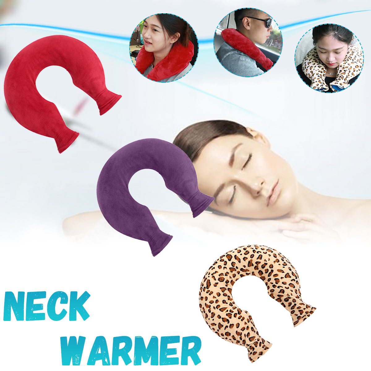 Neck Warmer Hot Water Bottle Bag U Shaped Removable Cosy Fleece Cover Soothing Aching Therapy