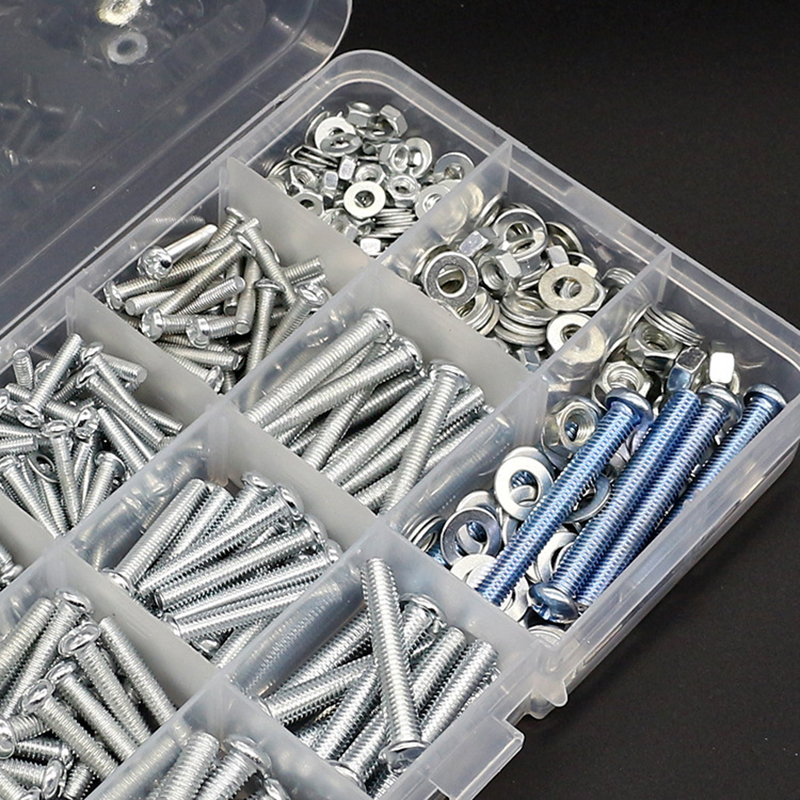 M3 M4 M5 Stainless Steel Phillips Round Head Screws Nuts Flat Washers Assortment Kit 500g