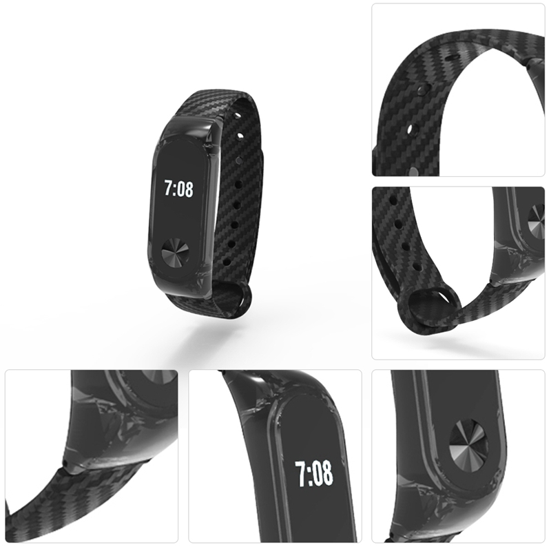 Crystal PC Shell Carbon Fiber Replacement Strap Wristband For Xiaomi Miband 2