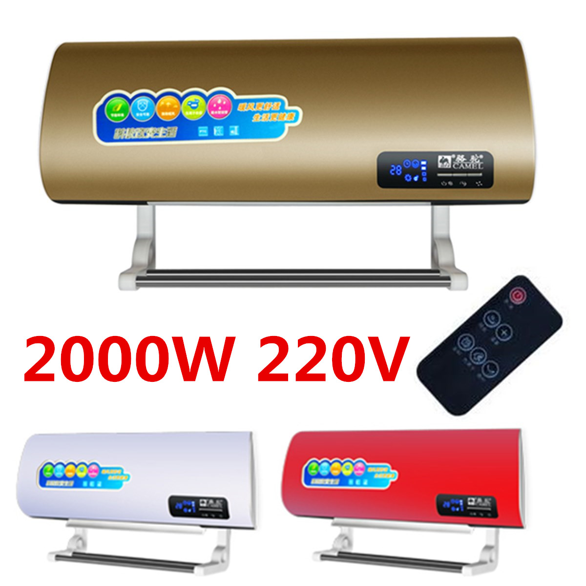 2000W 220V Wall Mounted Heater Household Space Heating Air Conditioning with Remote Controller