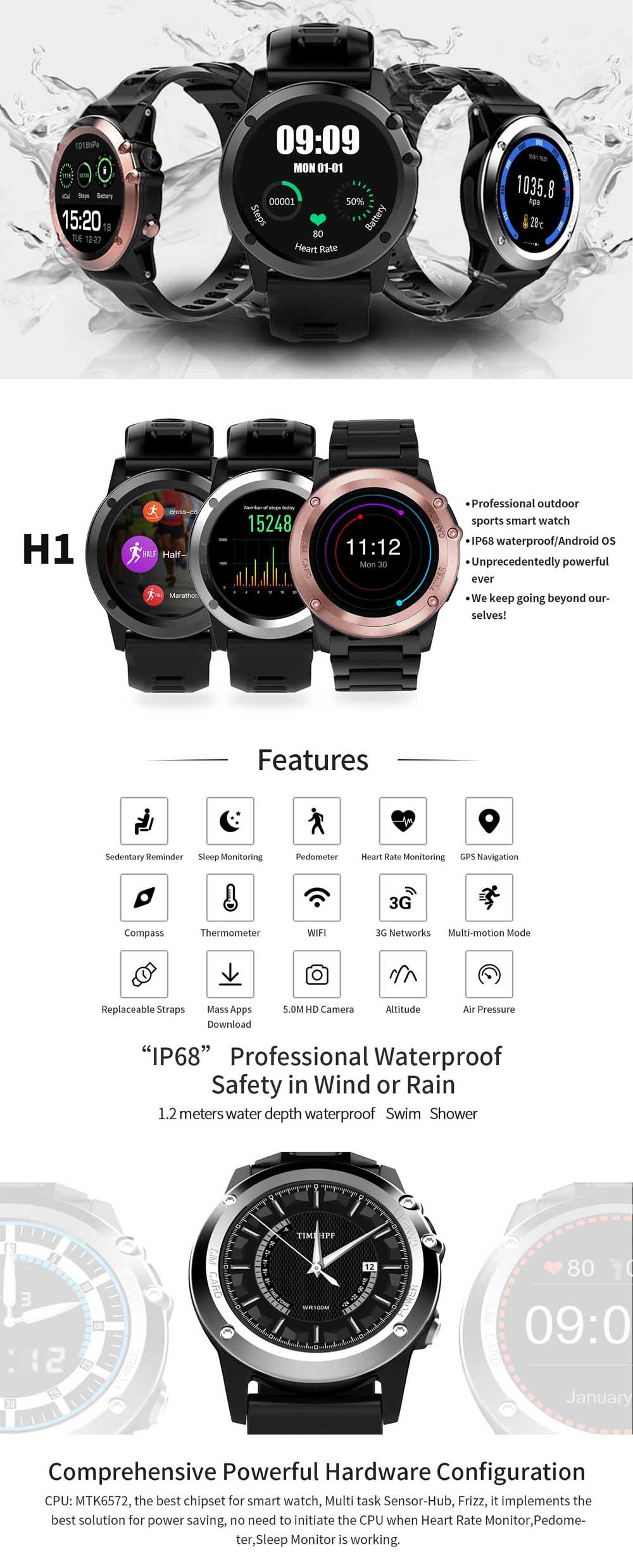 H1-JM01 Heart Rate Smart Watch Thermometer GPS Nevigation Motor