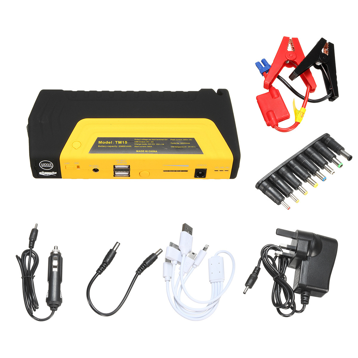 50800mAh LED Dual USB Car Jump Starter Booster Portable Power Bank Backup Charger