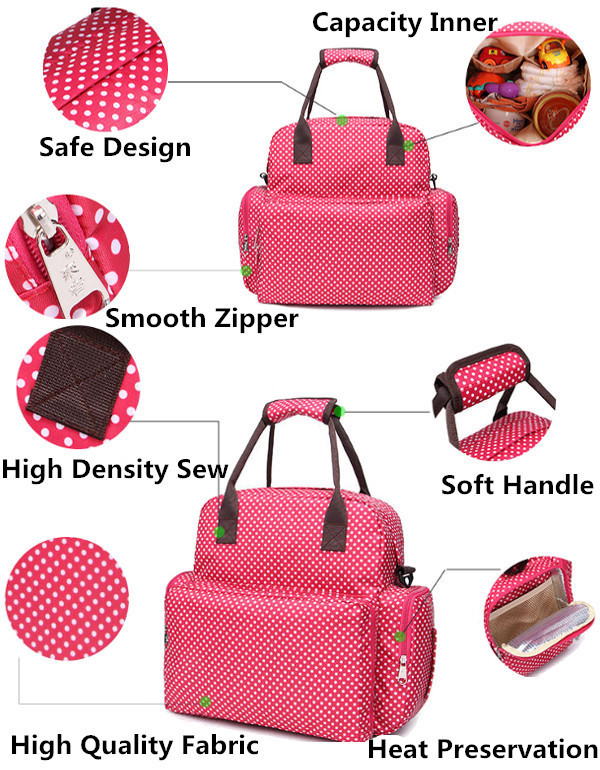 Dot Baby Nappy Bags Multifunction Waterproof Handbags Mom Diaper Shoulder Bags Backpack