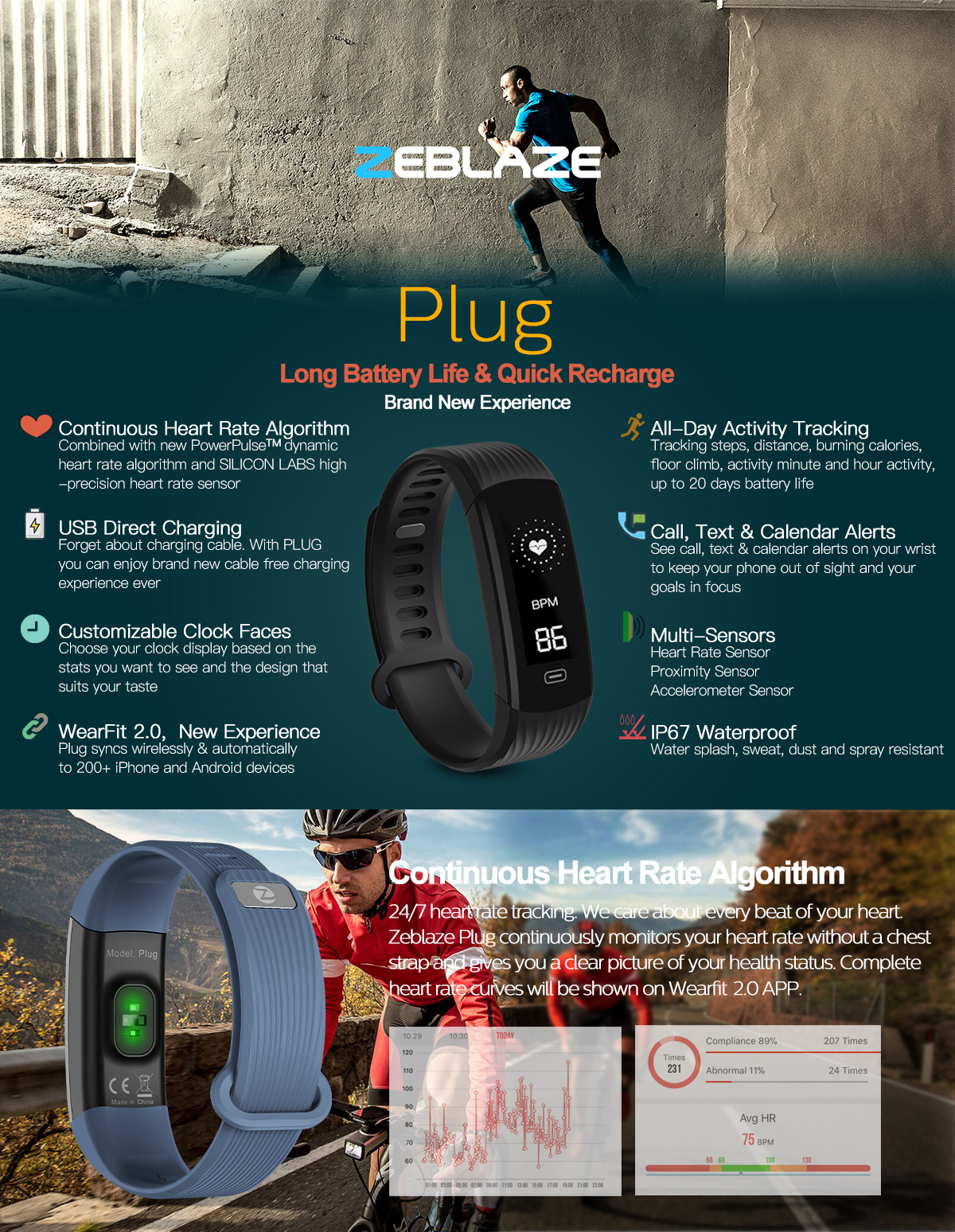 Zeblaze Plug Real-time Heart Rate Sleep Monitor All-day Activity Tracker Stopwatch BT4.0 Smart Watch