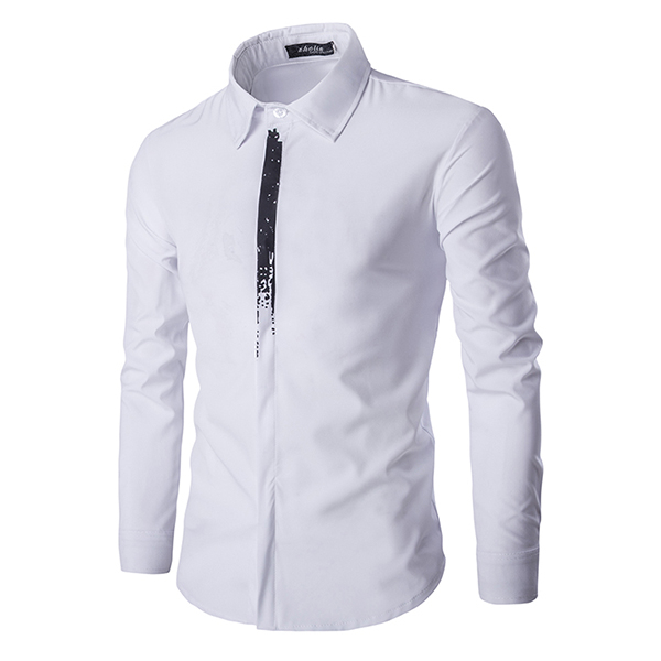 Mens Fashion Personality Elegant Hidden Placket Slim Fit Long Sleeve Dress Shirts