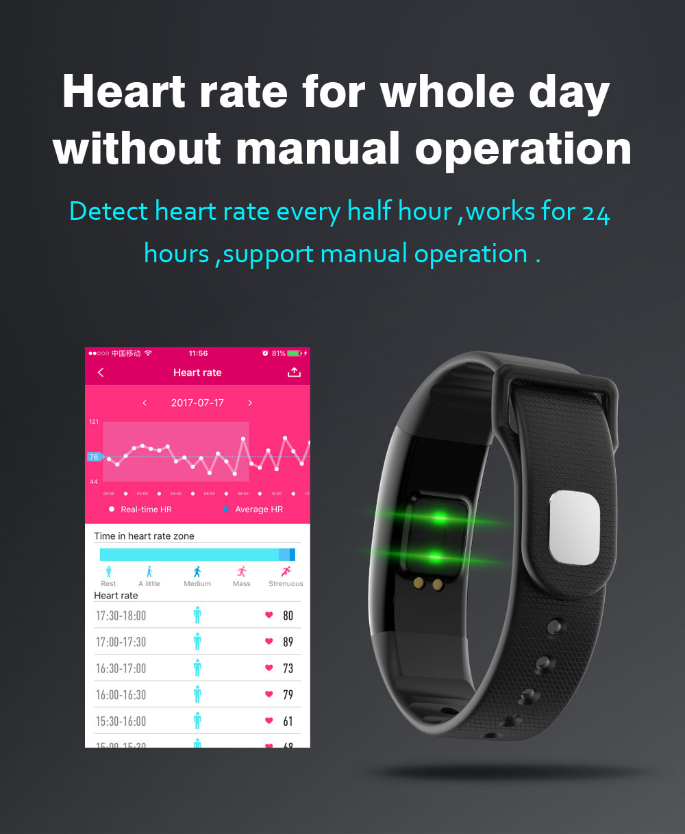 0.87inch A69 Blood Pressure Heart Rate Monitor Pedometer bluetooth Smart Bracelet For iOS Android