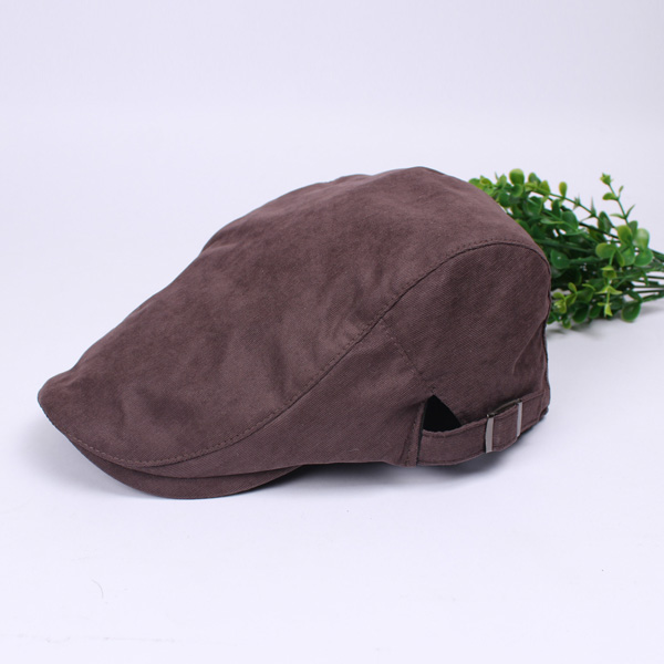 Unisex Cotton Beret Hat Buckle Adjustable Paper Boy Newsboy Cabbie Gentleman Visor Cap