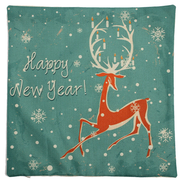 Christmas Series Linen Cotton Throw Pillow Case Sofa Car Cushion Cover Home Decoration