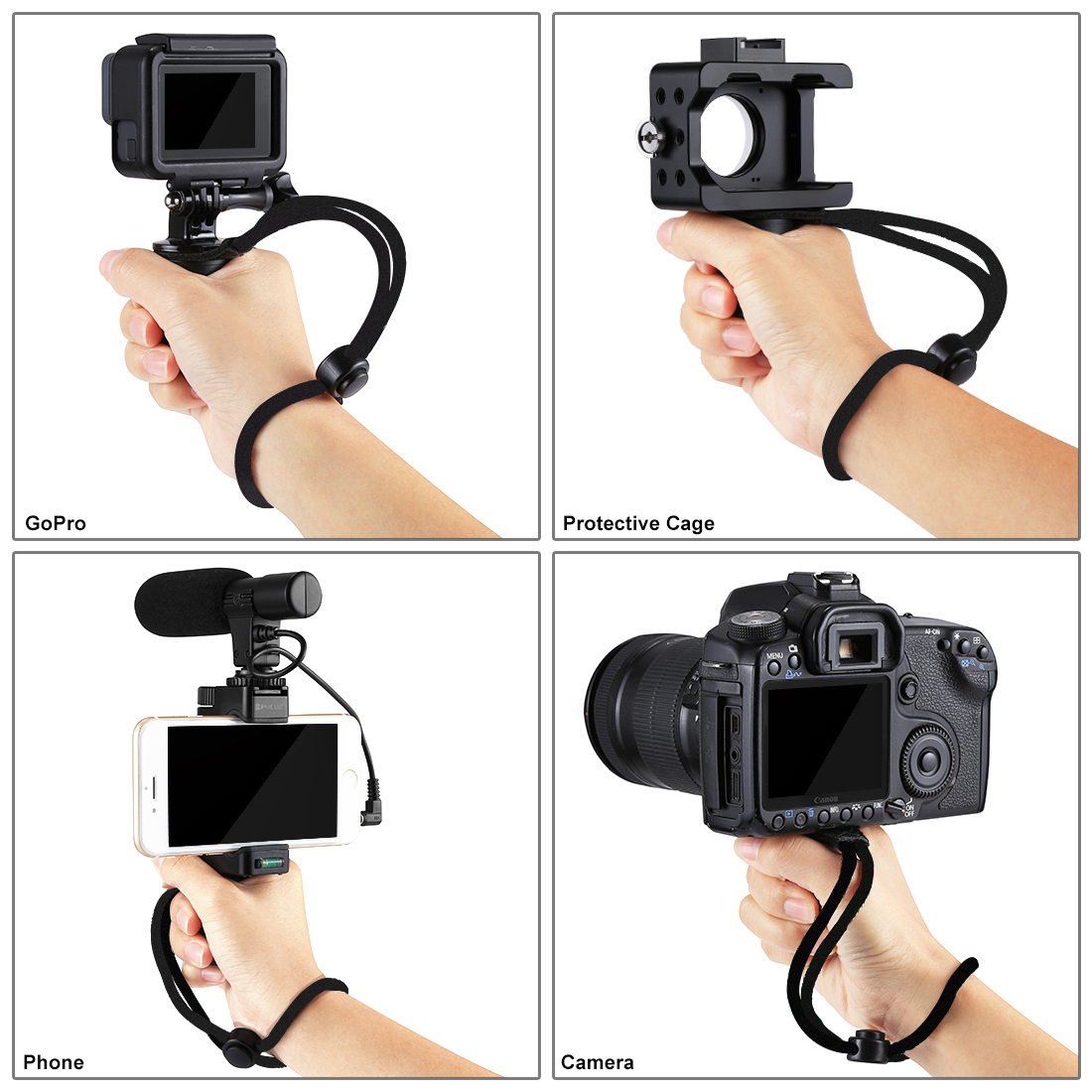 PULUZ PU366 Handheld Grip Rig Stabilizer ABS Tripod Adapter Mount with Cold Shoe Base Wrist Strap for Smartphones for DSLR Cameras for Action Cameras