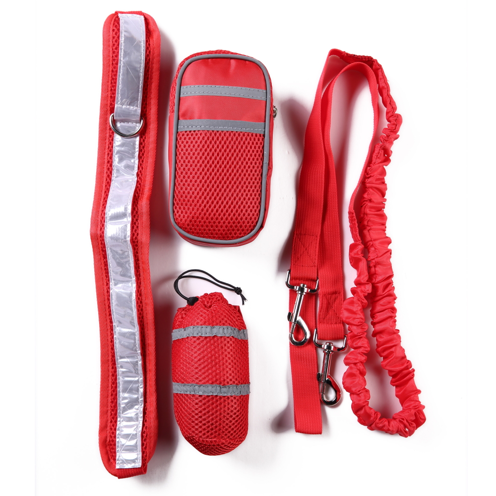Nylon Pet Running Dog Strip Elastic Leash Zipper Bag Reflective Waist Belt Holder Set