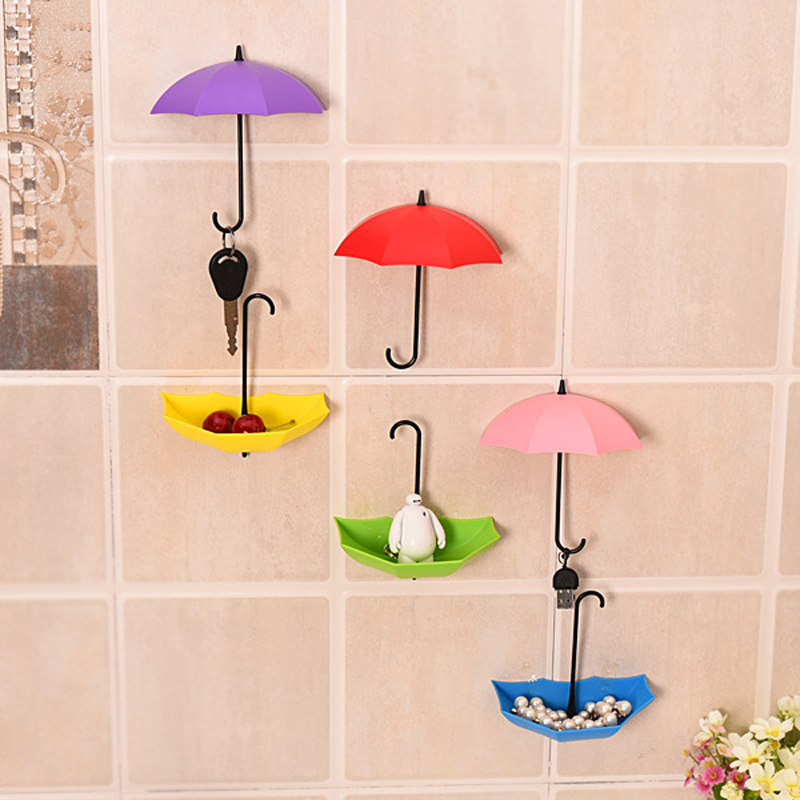 Honana 3Pcs Colorful Umbrella Shaped Creative Hanger Decorative Holder Pasties Wall Hook For Kitchen Bathroom Accessories Set